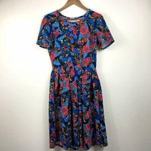 LuLaRoe Amelia Floral Blue Red Zip Dress Large